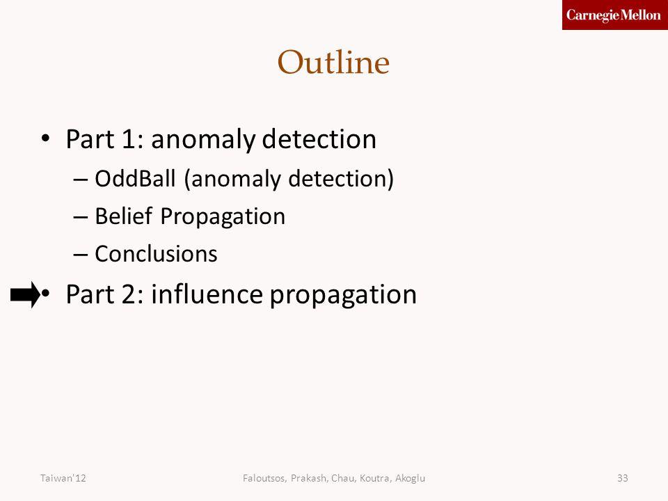 Faloutsos, Prakash, Chau, Koutra, Akoglu33 Outline Part 1: anomaly detection – OddBall (anomaly detection) – Belief Propagation – Conclusions Part 2: influence propagation Taiwan 12