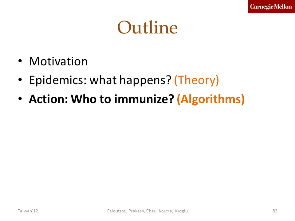Outline Motivation Epidemics: what happens.(Theory) Action: Who to immunize.
