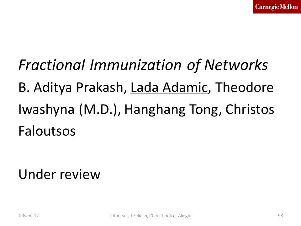 Fractional Immunization of Networks B.