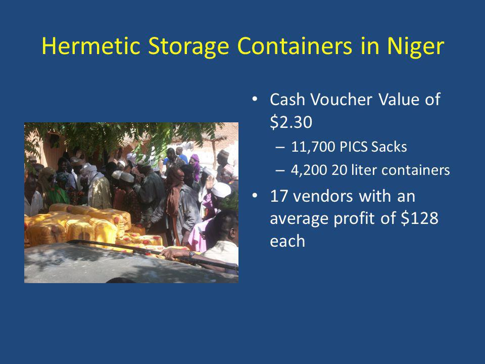 Hermetic Storage Containers in Niger Cash Voucher Value of $2.30 – 11,700 PICS Sacks – 4,200 20 liter containers 17 vendors with an average profit of $128 each