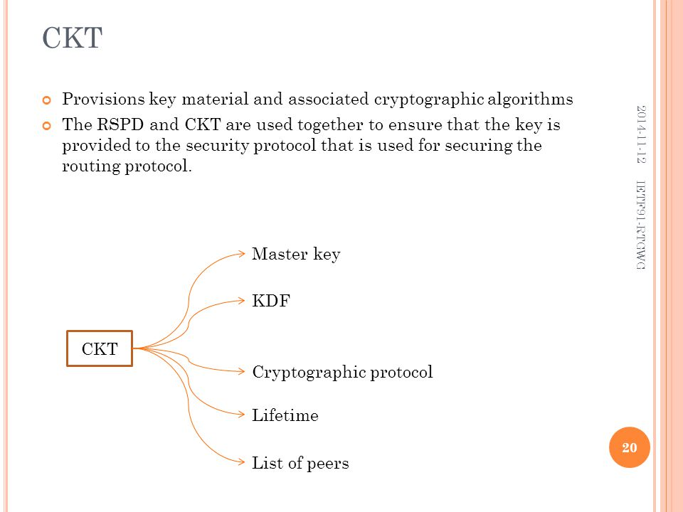 CKT Provisions key material and associated cryptographic algorithms The RSPD and CKT are used together to ensure that the key is provided to the security protocol that is used for securing the routing protocol.