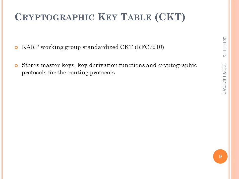 C RYPTOGRAPHIC K EY T ABLE (CKT) KARP working group standardized CKT (RFC7210) Stores master keys, key derivation functions and cryptographic protocol