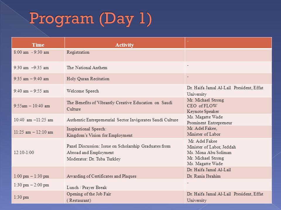 TimeActivity - 8:00 am - 9:30 amRegistration 9:30 am –9:35 amThe National Anthem - 9:35 am – 9:40 amHoly Quran Recitation - 9:40 am – 9:55 amWelcome Speech Dr.
