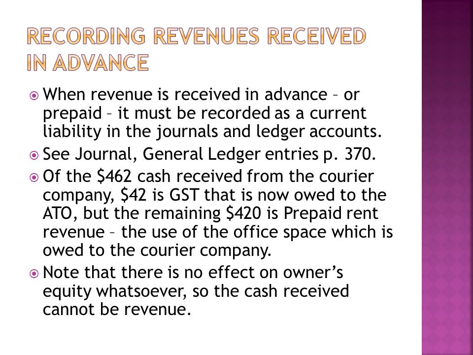 When revenue is received in advance – or prepaid – it must be recorded as a current liability in the journals and ledger accounts.