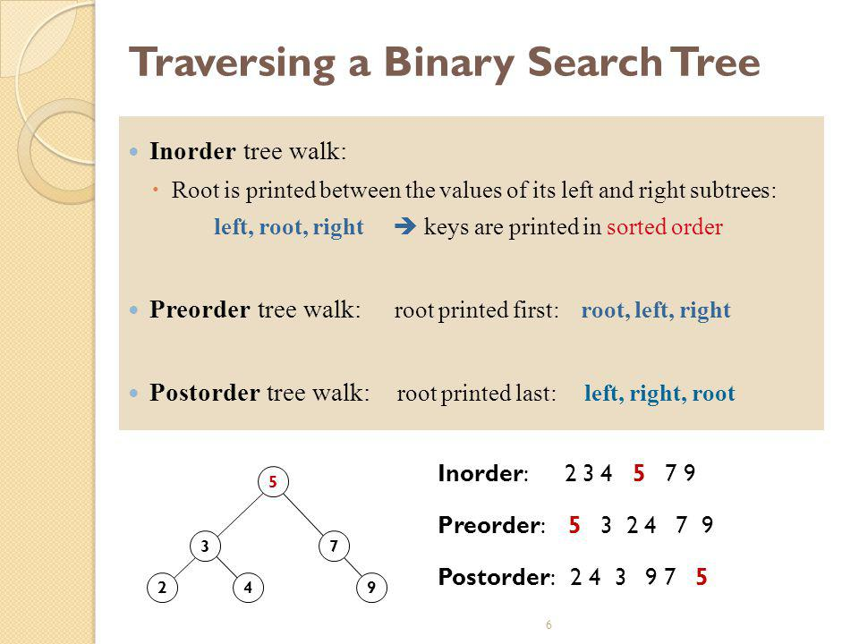 6 Traversing a Binary Search Tree Inorder tree walk:  Root is printed between the values of its left and right subtrees: left, root, right  keys are printed in sorted order Preorder tree walk: root printed first: root, left, right Postorder tree walk: root printed last: left, right, root 2 3 4 5 7 9 Preorder: 5 3 2 4 7 9 Inorder: 2 3 4 5 7 9 Postorder: 2 4 3 9 7 5