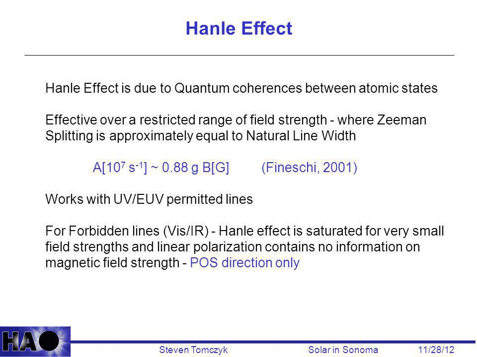 Steven Tomczyk Solar in Sonoma 11/28/12 Hanle Effect Hanle Effect is due to Quantum coherences between atomic states Effective over a restricted range of field strength - where Zeeman Splitting is approximately equal to Natural Line Width A[10 7 s -1 ] ~ 0.88 g B[G] (Fineschi, 2001) Works with UV/EUV permitted lines For Forbidden lines (Vis/IR) - Hanle effect is saturated for very small field strengths and linear polarization contains no information on magnetic field strength - POS direction only