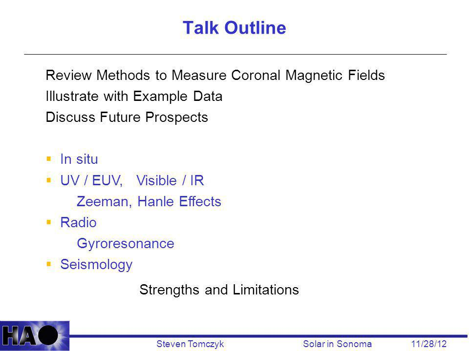 Steven Tomczyk Solar in Sonoma 11/28/12 Review Methods to Measure Coronal Magnetic Fields Illustrate with Example Data Discuss Future Prospects  In s