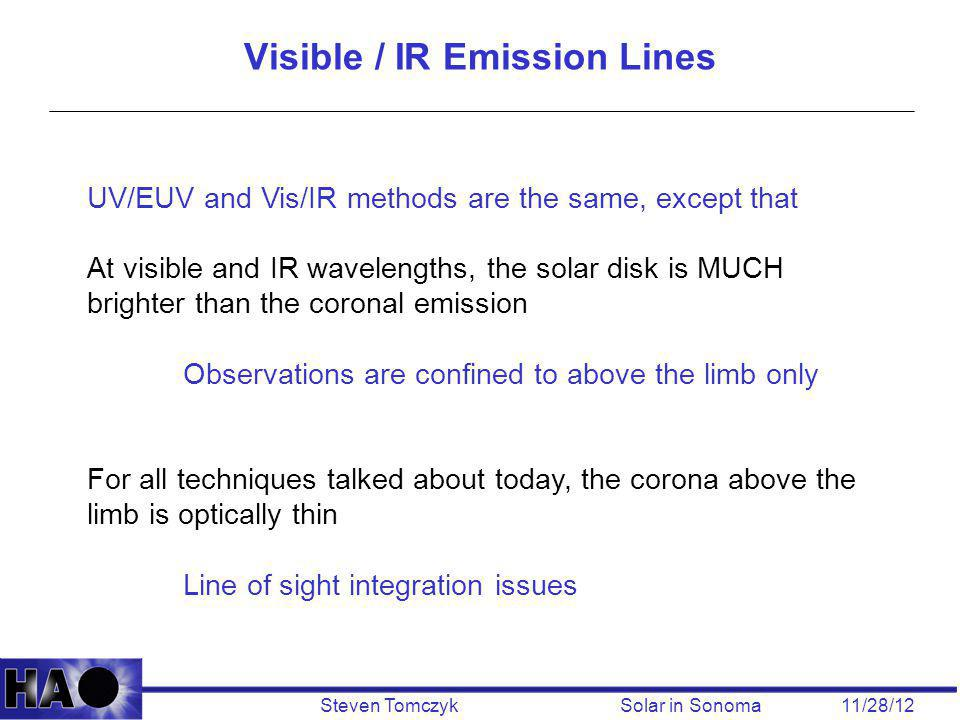 Steven Tomczyk Solar in Sonoma 11/28/12 UV/EUV and Vis/IR methods are the same, except that At visible and IR wavelengths, the solar disk is MUCH brig
