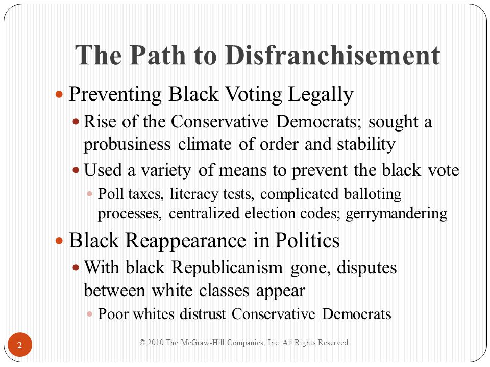 The Path to Disfranchisement Preventing Black Voting Legally Rise of the Conservative Democrats; sought a probusiness climate of order and stability U