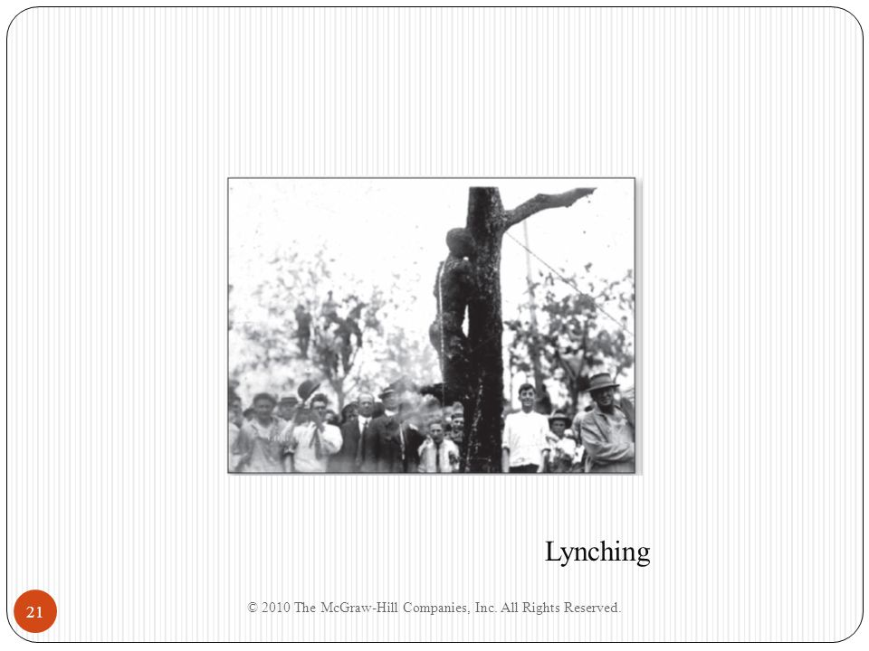 © 2010 The McGraw-Hill Companies, Inc. All Rights Reserved. 21 Lynching