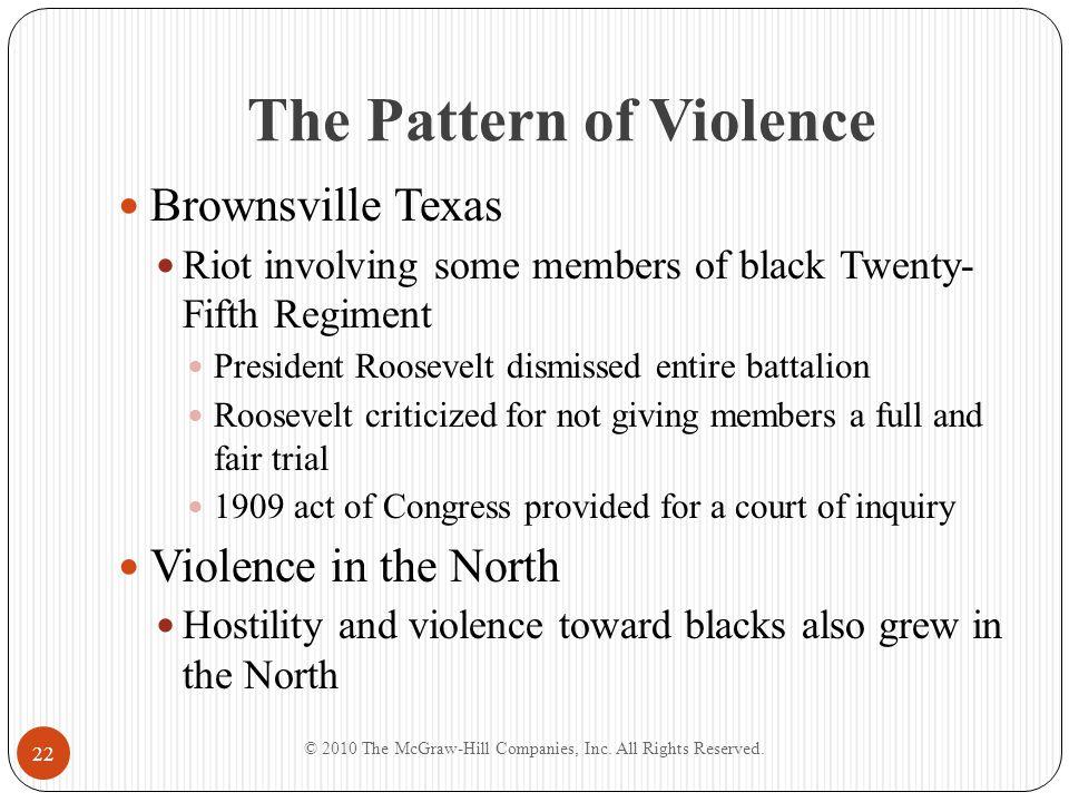 The Pattern of Violence Brownsville Texas Riot involving some members of black Twenty- Fifth Regiment President Roosevelt dismissed entire battalion R