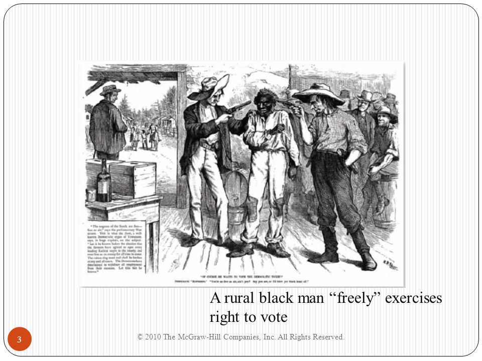"""3 A rural black man """"freely"""" exercises right to vote"""
