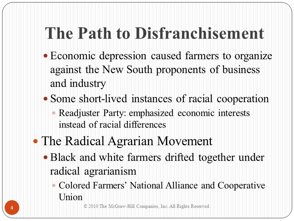 The Path to Disfranchisement Economic depression caused farmers to organize against the New South proponents of business and industry Some short-lived