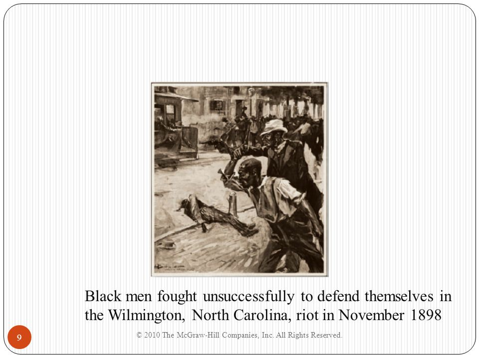 9 Black men fought unsuccessfully to defend themselves in the Wilmington, North Carolina, riot in November 1898
