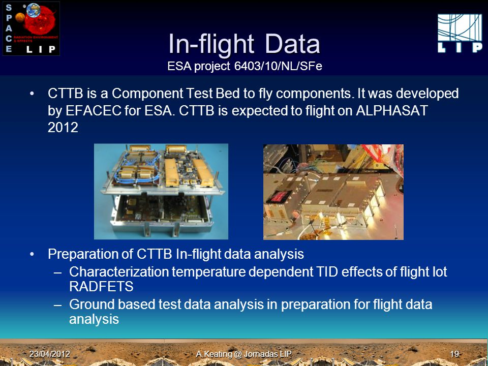 23/04/2012A.Keating @ Jornadas LIP19 In-flight Data CTTB is a Component Test Bed to fly components. It was developed by EFACEC for ESA. CTTB is expect