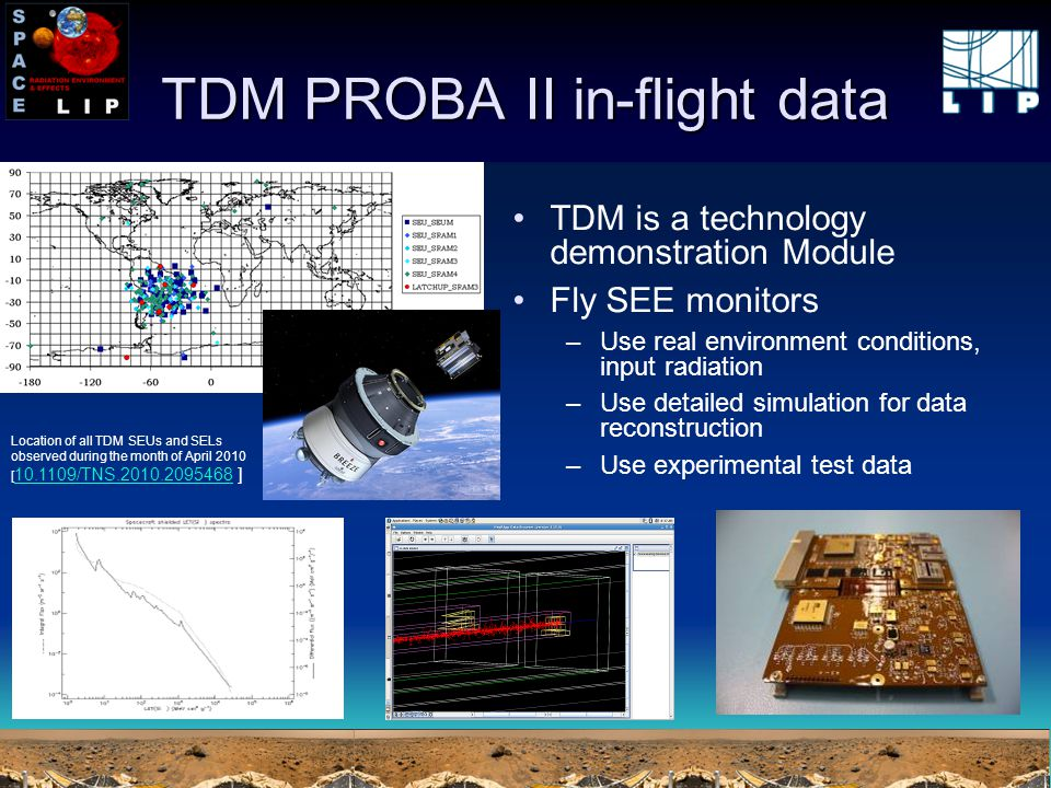 TDM PROBA II in-flight data TDM is a technology demonstration Module Fly SEE monitors –Use real environment conditions, input radiation –Use detailed