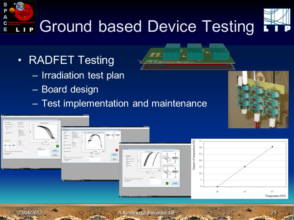 23/04/2012A.Keating @ Jornadas LIP21 Ground based Device Testing RADFET Testing –Irradiation test plan –Board design –Test implementation and maintena