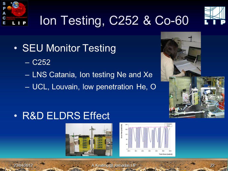 23/04/2012A.Keating @ Jornadas LIP22 Ion Testing, C252 & Co-60 SEU Monitor Testing –C252 –LNS Catania, Ion testing Ne and Xe –UCL, Louvain, low penetration He, O R&D ELDRS Effect