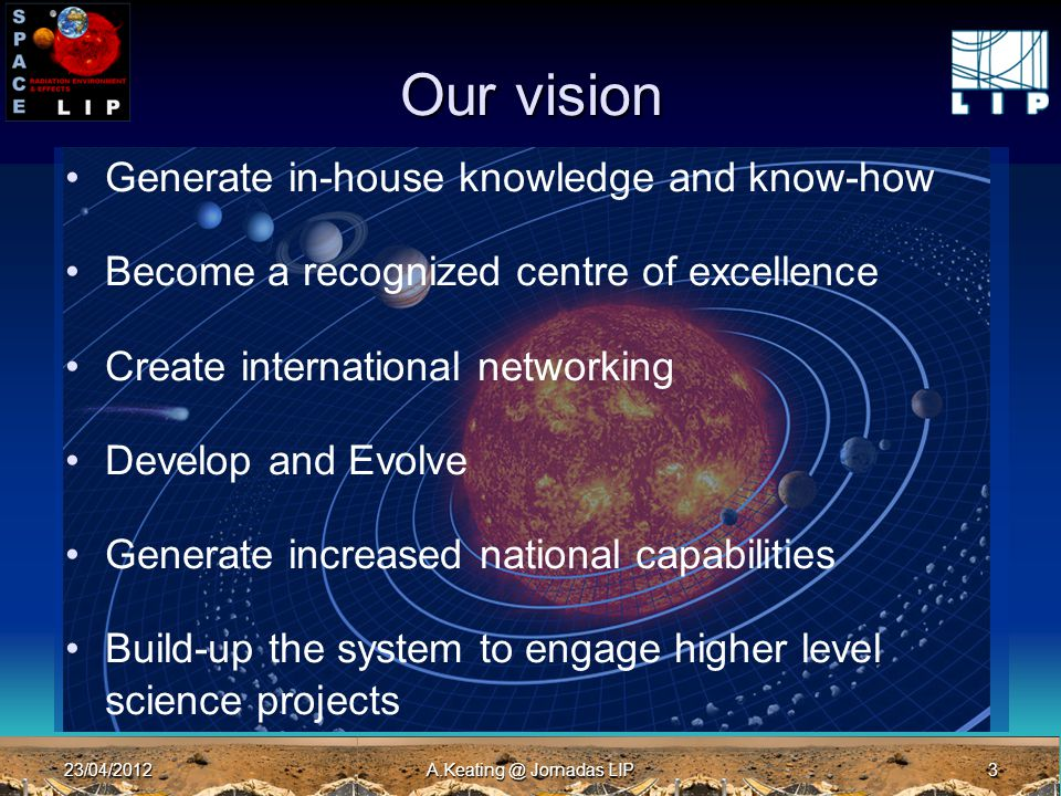 23/04/2012A.Keating @ Jornadas LIP3 Our vision Generate in-house knowledge and know-how Become a recognized centre of excellence Create international