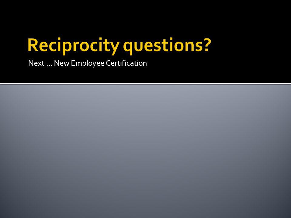 Next … New Employee Certification
