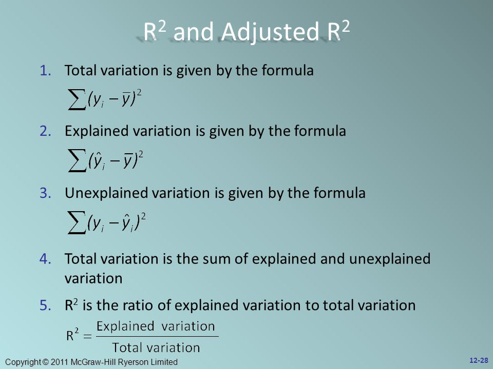 Copyright © 2011 McGraw-Hill Ryerson Limited 1.Total variation is given by the formula 2.Explained variation is given by the formula 3.Unexplained variation is given by the formula 4.Total variation is the sum of explained and unexplained variation 5.R 2 is the ratio of explained variation to total variation 12-28