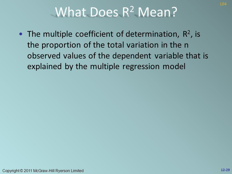 Copyright © 2011 McGraw-Hill Ryerson Limited The multiple coefficient of determination, R 2, is the proportion of the total variation in the n observed values of the dependent variable that is explained by the multiple regression model 12-29 L04