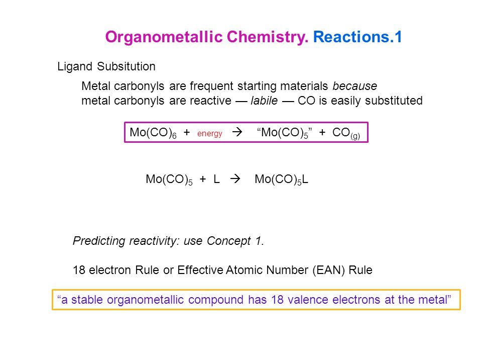 Organometallic Chemistry. Reactions.1 Ligand Subsitution Metal carbonyls are frequent starting materials because metal carbonyls are reactive — labile