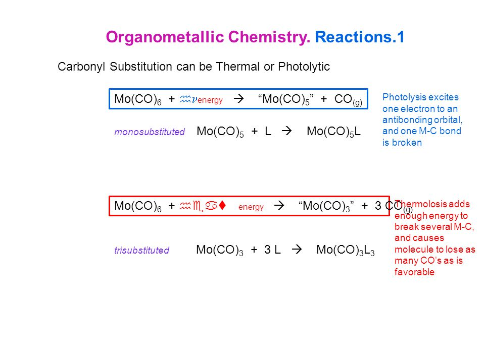 Organometallic Chemistry. Reactions.1 Carbonyl Substitution can be Thermal or Photolytic Photolysis excites one electron to an antibonding orbital, an