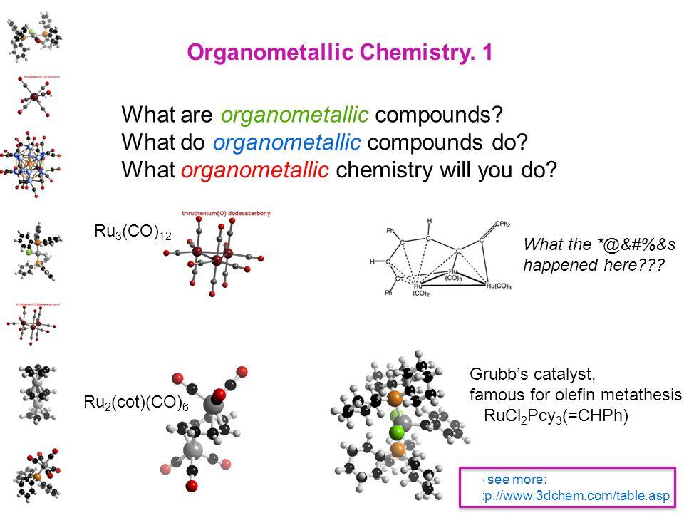 Organometallic Chemistry. 1 What do organometallic compounds do? What are organometallic compounds? What organometallic chemistry will you do? To see