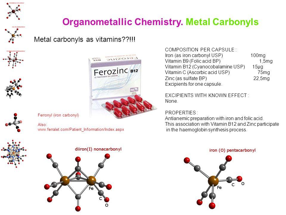 COMPOSITION PER CAPSULE : Iron (as iron carbonyl USP) 100mg Vitamin B9 (Folic acid BP) 1,5mg Vitamin B12 (Cyanocobalamine USP) 15µg Vitamin C (Ascorbic acid USP) 75mg Zinc (as sulfate BP) 22,5mg Excipients for one capsule.