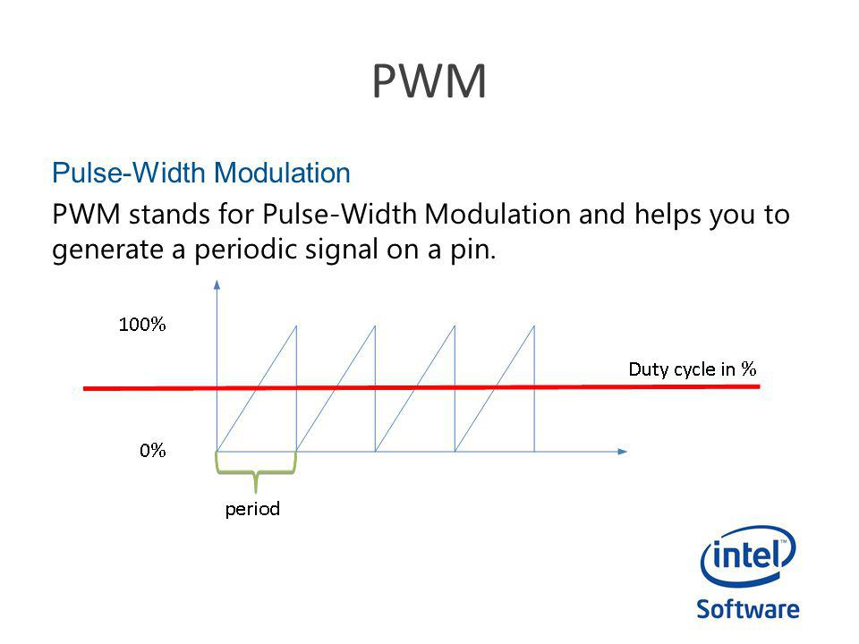 PWM Pulse-Width Modulation PWM stands for Pulse-Width Modulation and helps you to generate a periodic signal on a pin.