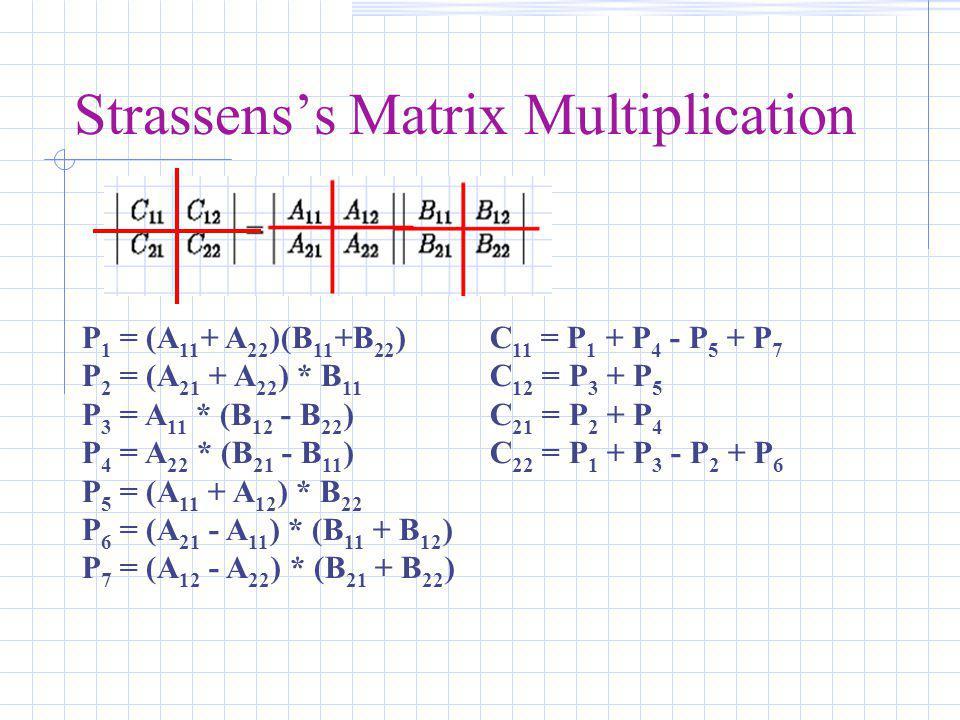 Strassens's Matrix Multiplication P 1 = (A 11 + A 22 )(B 11 +B 22 ) P 2 = (A 21 + A 22 ) * B 11 P 3 = A 11 * (B 12 - B 22 ) P 4 = A 22 * (B 21 - B 11 ) P 5 = (A 11 + A 12 ) * B 22 P 6 = (A 21 - A 11 ) * (B 11 + B 12 ) P 7 = (A 12 - A 22 ) * (B 21 + B 22 ) C 11 = P 1 + P 4 - P 5 + P 7 C 12 = P 3 + P 5 C 21 = P 2 + P 4 C 22 = P 1 + P 3 - P 2 + P 6