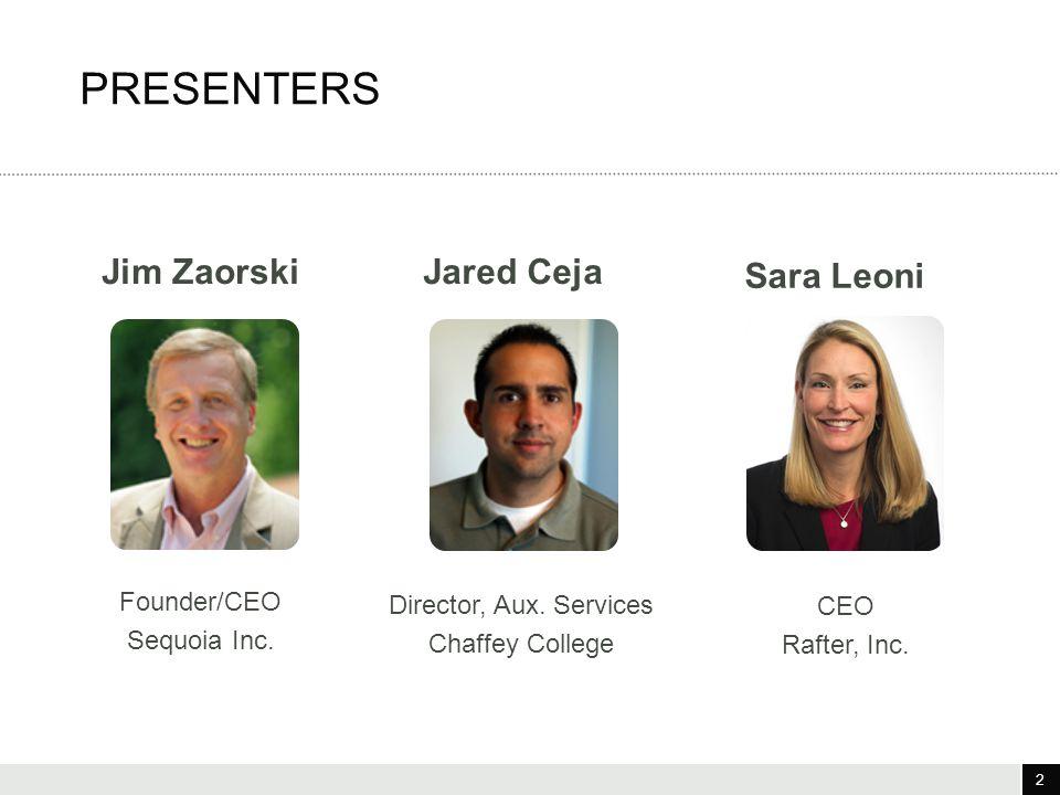 2 3/25/12 2 PRESENTERS Sara Leoni Jared Ceja CEO Rafter, Inc.
