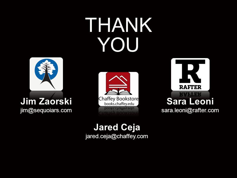 30 3/25/12 Sara Leoni sara.leoni@rafter.com Jared Ceja jared.ceja@chaffey.com Jim Zaorski jim@sequoiars.com THANK YOU