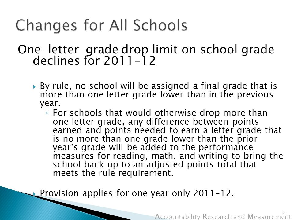A ccountability R esearch and M easurement One-letter-grade drop limit on school grade declines for 2011-12  By rule, no school will be assigned a final grade that is more than one letter grade lower than in the previous year.