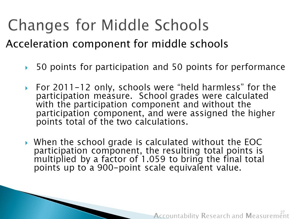 A ccountability R esearch and M easurement Acceleration component for middle schools  50 points for participation and 50 points for performance  For 2011-12 only, schools were held harmless for the participation measure.