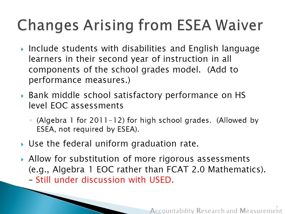 A ccountability R esearch and M easurement  FCAT Writing Standard ◦ State Board review in October 2012  Scores credited back from students at alternative schools ◦ State Board review in October 2012  Reading performance threshold (25%) begins.