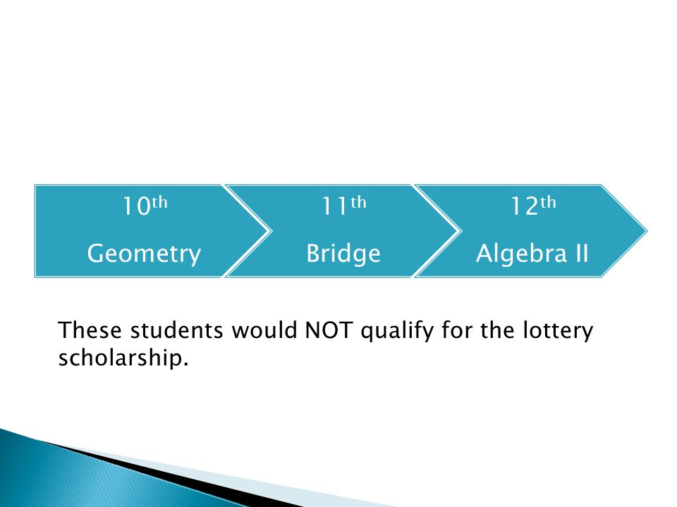 10 th Geometry 11 th Bridge 12 th Algebra II These students would NOT qualify for the lottery scholarship.