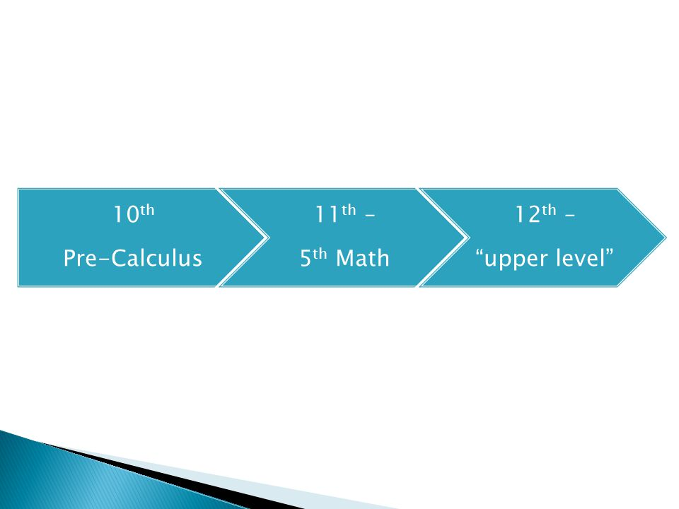 10 th Pre-Calculus 11 th – 5 th Math 12 th – upper level