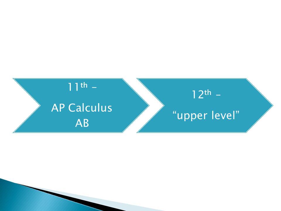 11 th – AP Calculus AB 12 th – upper level