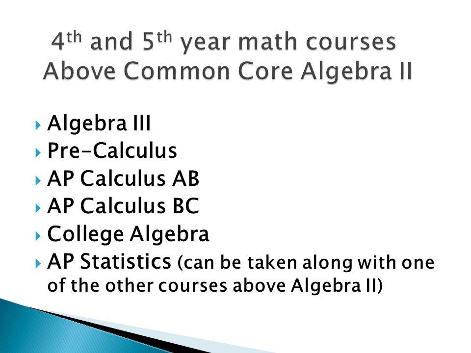 10 th Algebra II 11 th Geometry 12 th 4 th Math