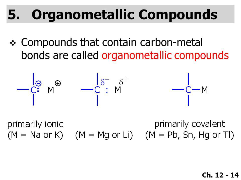 Ch. 12 - 14 5.Organometallic Compounds  Compounds that contain carbon-metal bonds are called organometallic compounds