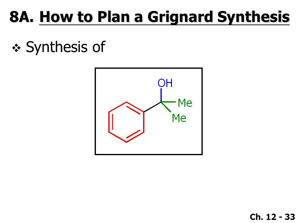 Ch. 12 - 33 8A.How to Plan a Grignard Synthesis  Synthesis of