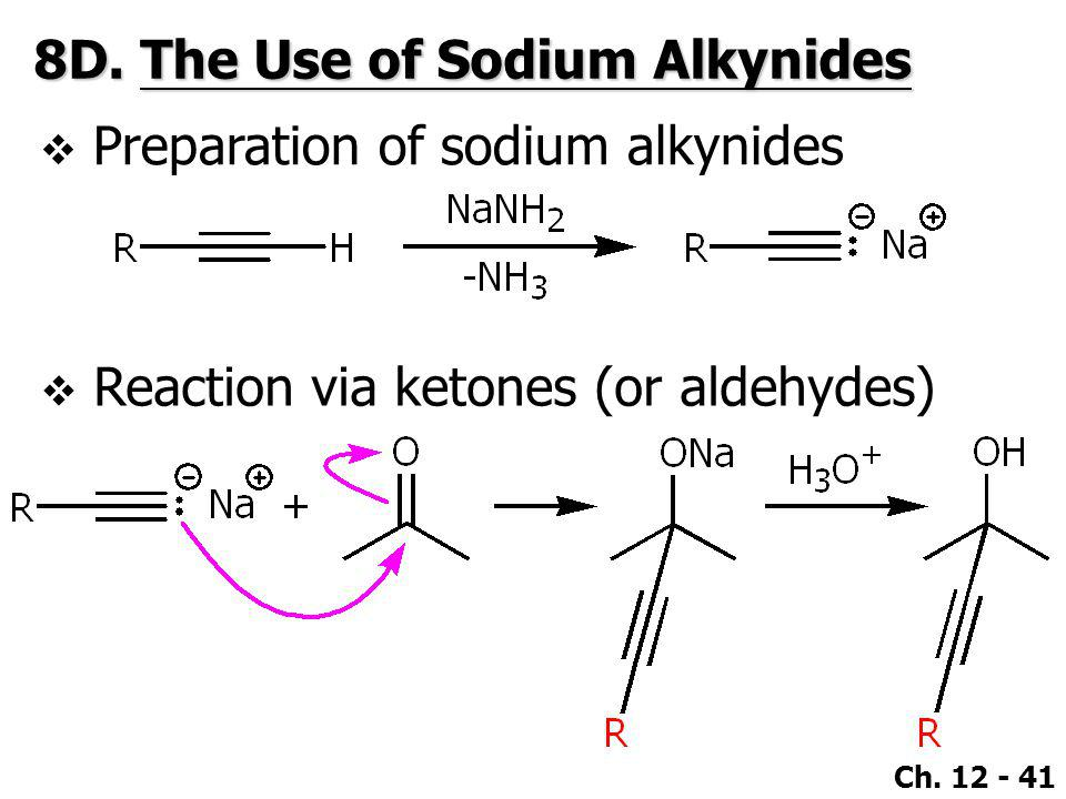 Ch. 12 - 41 8D.The Use of Sodium Alkynides  Preparation of sodium alkynides  Reaction via ketones (or aldehydes)