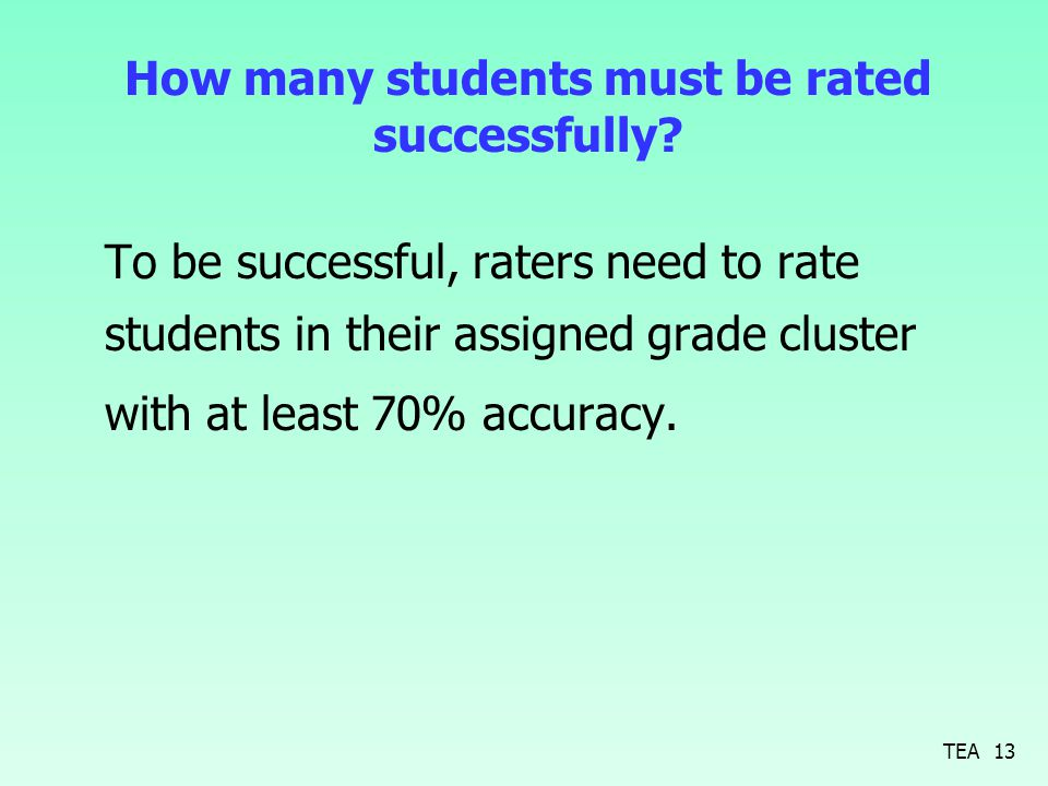 How many students must be rated successfully? To be successful, raters need to rate students in their assigned grade cluster with at least 70% accurac