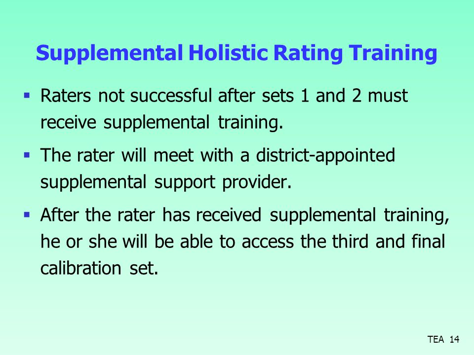 Supplemental Holistic Rating Training  Raters not successful after sets 1 and 2 must receive supplemental training.