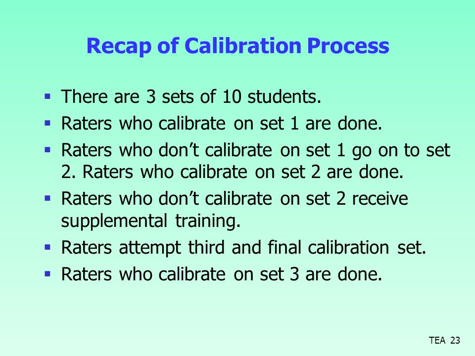 Recap of Calibration Process  There are 3 sets of 10 students.  Raters who calibrate on set 1 are done.  Raters who don't calibrate on set 1 go on