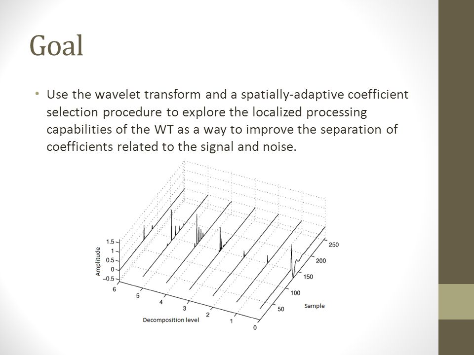 Goal Use the wavelet transform and a spatially-adaptive coefficient selection procedure to explore the localized processing capabilities of the WT as a way to improve the separation of coefficients related to the signal and noise.