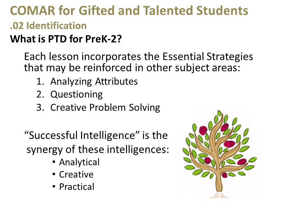 COMAR for Gifted and Talented Students.02 Identification What is PTD for PreK-2.