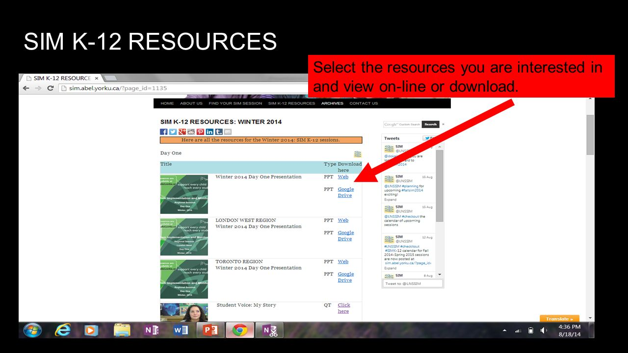 SIM K-12 RESOURCES Select the resources you are interested in and view on-line or download.
